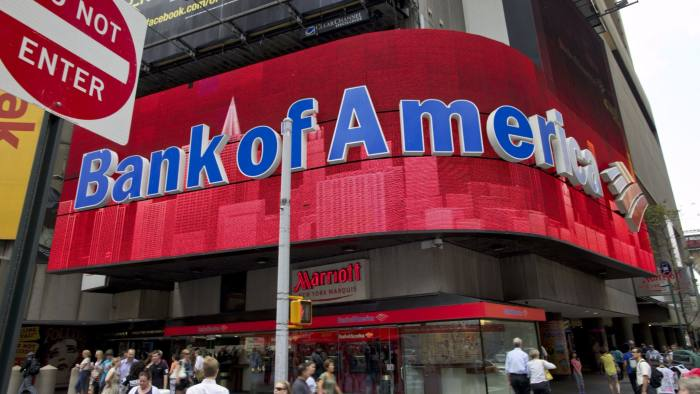Citigroup, Bank of America Fall as Financial Stocks Resume Slide...Bank of America Corp. signage is displayed at a branch in Times Square, New York, U.S., on Wednesday, Aug 10, 2011. Bank of America Corp. and Citigroup Inc. posted new declines as U.S. lenders resumed their slide, pushed lower by concern about Europe's debt crisis and a weak domestic economy. Photographer: Guy Calaf/Bloomberg