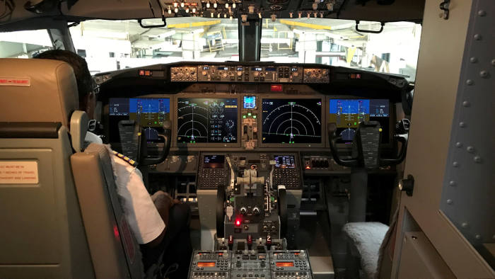FILE PHOTO: The cockpit of Jet Airways Boeing 737 MAX 8 aircarft is pictured during its induction ceremony at the Chhatrapati Shivaji International airport in Mumbai, India, June 28, 2018. Picture taken June 28, 2018. REUTERS/Abhirup Roy/File Photo