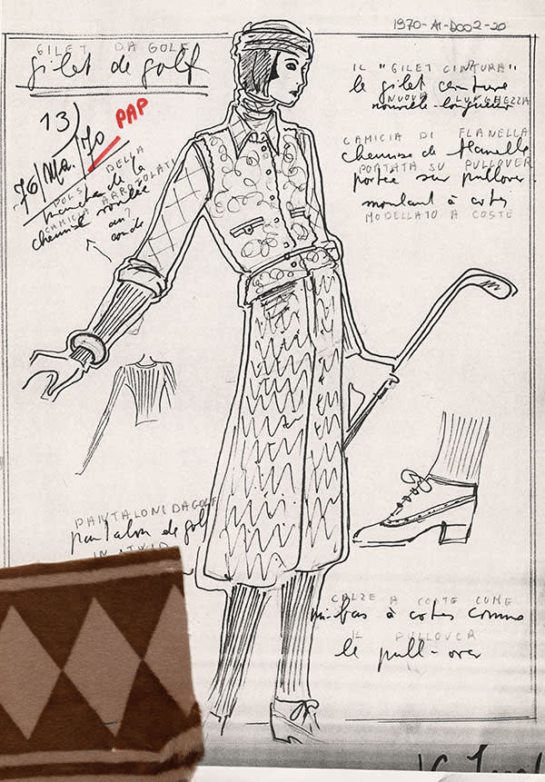 1970: An eskimo fur coat, as sketched and annotated by Lagerfeld for that year's AW show