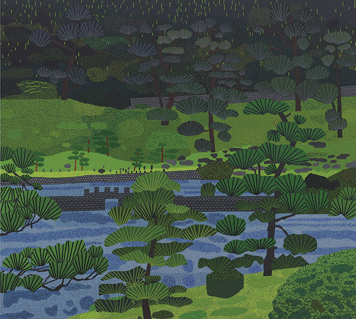 """Jonas Wood (b. 1977) Japanese Garden 3 Price realised USD 4,928,500 Estimate USD 500,000 - USD 700,000 PLEASE CREDIT TO CHRISTIE'S IMAGES LTD. 2019 Please note this may only be reproduced in connection with a preview or review of the relevant Christie's sale. Please refer to our Terms & Conditions of use below. There may also be additional copyright which you will need to clear direct with the copyright holder. Christie's Press Office Conditions of Use Transparencies, digital images, Jpeg images, black and white prints and 35mm slides (each """"the Image"""") distributed by Christie's Press Office whether in hard copy form or by electronic means are for use on the following basis only:- 1. The Image may only be reproduced in connection with the preview or review of the relevant auction sale. 2. The licence to use the Image is non-exclusive and is granted for a one-off usage only, unless otherwise agreed in writing by Christie's Images Limited (""""Christie's Images""""). 3. You must return the Image to Christie's Images within 14 days after use and you may not keep the Image or any copy of the Image in any form whatsoever, including storage in an archive or in an electronic retrieval database. 4. You may not distribute the Image or any copies of the Image nor authorise the use of the Image to any third party without the prior written consent of Christie's Images. 5. The Image shall at all times remain the property of Christie's Images. 6. While Christie's Images owns the copyright in the Image, there may be additional, third-party copyrights, intellectual property or publicity rights in the subject matter of the Image, or the art depicted in the Image. It is your responsibility to ascertain whether any such additional rights exist and to obtain any necessary permission from the relevant holders of such rights or their agents prior to reproducing the Image. Neither Christie's Images nor any other company in the Christie's group can be held liable for any failure on your part to """
