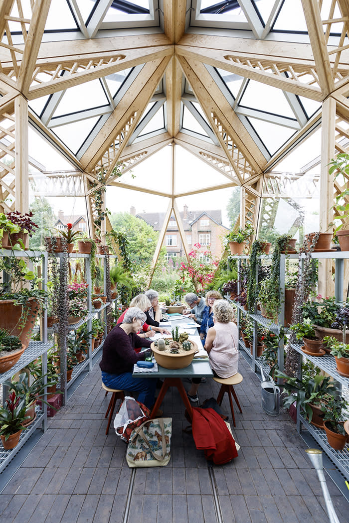 A creative writing session at Norman Foster's Maggie's Centre in Manchester