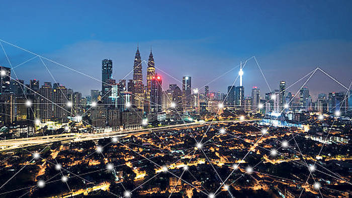 City scape and network connection concept, internet of things