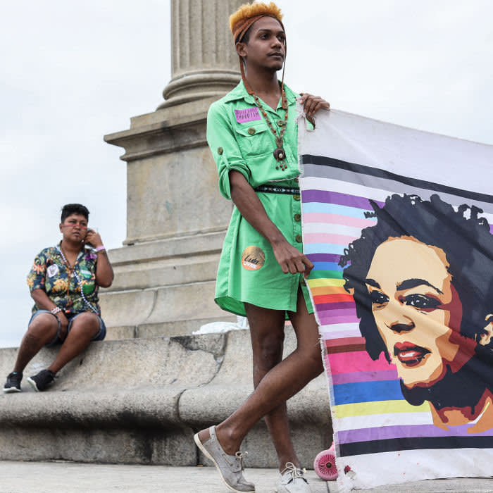 October 16, 2019 - Rio de Janeiro, RJ State, Brazil. Since the far right government of Bolsonaro arrived in power, the Transgender community fears that its sexual minority status will be challenged by the new government. A group of 30 or so Transgenders have decided to occupy an empty building in Copacabana in order to look for shelter and legal protection from what they see as a coming doom. In Casa Nem a party is being prepared, so the house is bustling. Everybody is getting dressed or helping somebody else. But this is not your average party. Casa Nem is a home for LGBT in Rio, mainly trans people live there. So, bras are stuffed, and some extra make-up is applied. Together they can party safely. The need for such a home in Brazil is evident. Although data is patchy according to the National Association of Travesties and Transsexuals Brazil last year 163 trans people were killed in Brazil and trans people have a life expectancy of just 35. Transgender Europe also ranks Brazil as the deadliest country for trans. Thatís why Casa Nem exists. Although Casa Nem is a safe haven it is certainly no paradise. They are squatting a desolated seven story-building. The building is in bad shape. When it rains, it leaks everywhere, and each room is filled with trash. With five floors each housing five apartments thatís a lot of trash. There is no running water, so buckets are carried from a tank downstairs. The residents are cleaning up the place but there is a lot to do, and they donít have the means to do it. Renovating the whole place will cost tens of thousands of US dollars, if not more. For trans people, it is already difficult to get by. In Casa Nem they rely on food donations. The odds of finding a job are not good. Most trans in Brazil havenít finished school and had to leave their homes at an early age. Many end up working in the informal sector.(Jonathan Alpeyrie/Polaris) Credit: Polaris / eyevine For further information please contact eyevine tel: +44 (0) 20 8709 87
