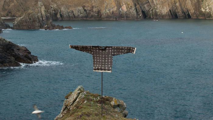 A Fair Isle jumper made by Mati Ventrillon, photographed on Maavi's Tongue, Fair Isle