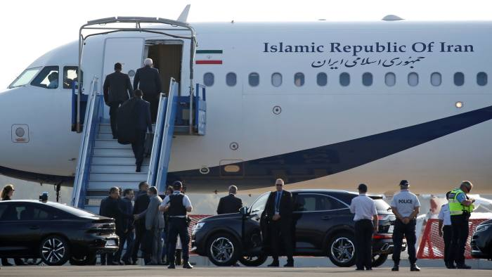 An Iranian government plane is seen on the tarmac at Biarritz airport in Anglet during the G7 summit in Biarritz, France, August 25, 2019. Iran's foreign minister Mohammad Javad Zarif arrived on Sunday in Biarritz, southwestern France, where leaders of the G7 group of nations are meeting, an Iranian official said. REUTERS/Regis Duvignau