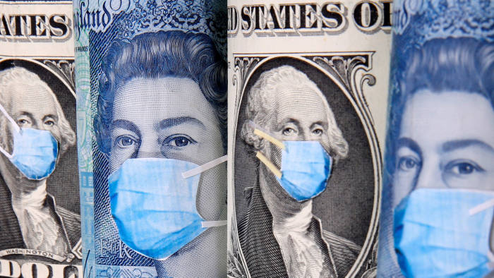 George Washington and Queen Elizabeth II are seen with printed medical masks on the one Dollar and Pound banknotes in this illustration taken, March 31, 2020. REUTERS/Dado Ruvic/Illustration