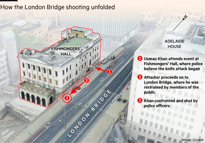 Map showing how the events of the London Bridge shooting unfoldedUsman Khan attends event at Fishmongers' Hall, where police believe the knife attack beganAttacker proceeds on to London Bridge, where he was restrained by members of the public Khan confronted and shot by police officers