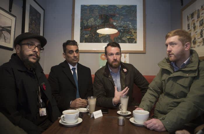 Counciler Sohail Khan, Counciler Paul Singh, Concervative PPC Stuart Anderson and Counciler Simon Bennett meet in a coffee shop in Wolverhampton city centre. UK. 31/10/19.Photo Tom Pilston.