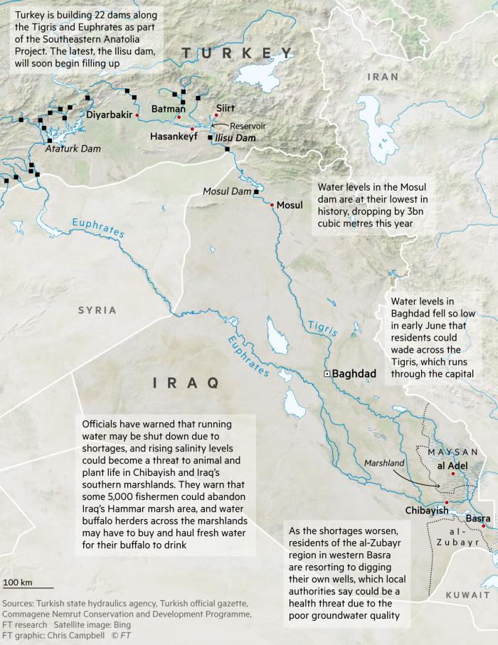 Turkey and Iraq dams map