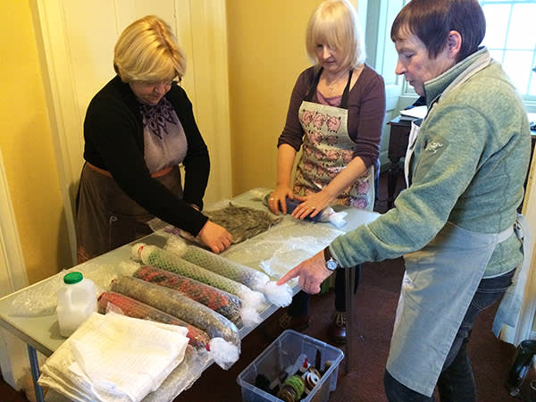 Making felt on Kathy Coull's course