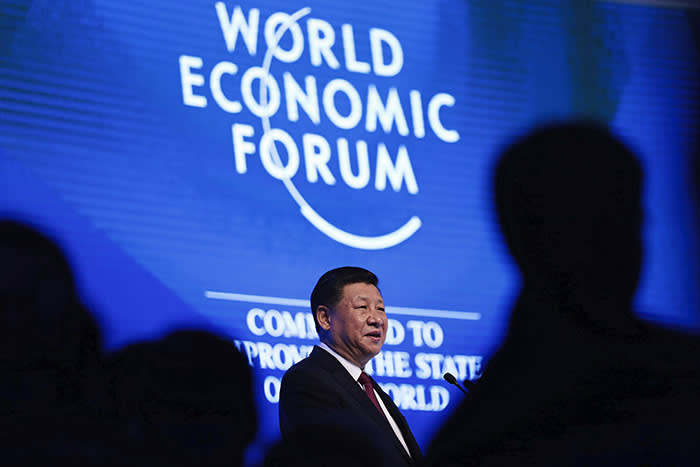 Xi Jinping, China's president, speaks during the opening plenary session of the World Economic Forum (WEF) annual meeting in Davos, Switzerland, on Tuesday, Jan. 17, 2017. World leaders, influential executives, bankers and policy makers attend the 47th annual meeting of the World Economic Forum (WEF) in Davos from Jan. 17-20. Photographer: Simon Dawson/Bloomberg