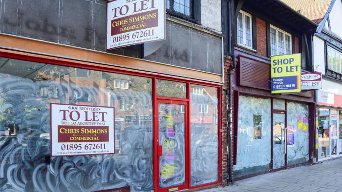 Empty shops on the high street in Ruislip, London. The retail industry employs more than 3m workers.