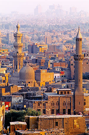 A view of old Cairo at dusk