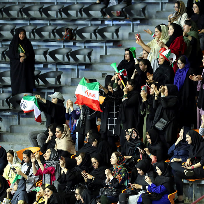 Iranian women attend Asian Men's Volleyball Championship between Iran and Qatar in Azadi stadium in Tehran, Iran September 14, 2019. Picture taken September 14, 2019. Nazanin Tabatabaee/WANA (West Asia News Agency) via REUTERS ATTENTION EDITORS - THIS IMAGE HAS BEEN SUPPLIED BY A THIRD PARTY. - RC1C0057BA90