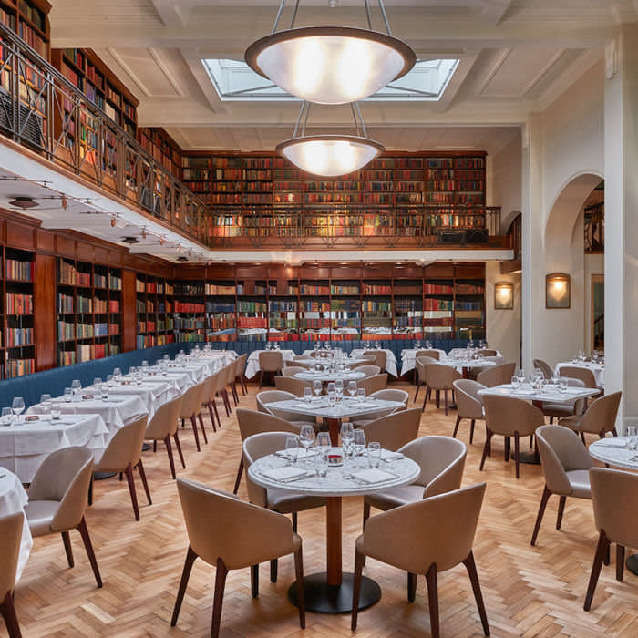 Hushed voices are no longer obligatory in this library turned dining space