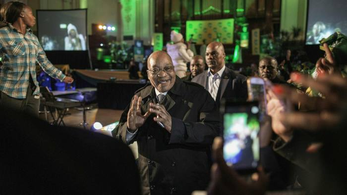 South African president and South African ruling party African National Congress (ANC) president Jacob Zuma (C) arrives to attend a Municipal elections campaign event on July 27, 2016 at the Johannesburg Town Hall in Johannesburg. / AFP PHOTO / GIANLUIGI GUERCIAGIANLUIGI GUERCIA/AFP/Getty Images