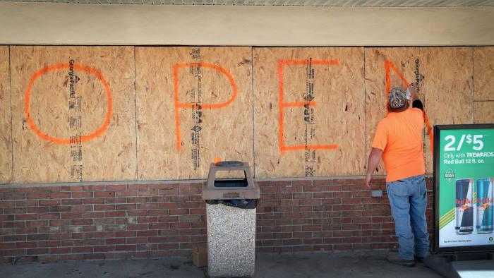 MELBOURNE, FLORIDA - SEPTEMBER 01: A worker paints