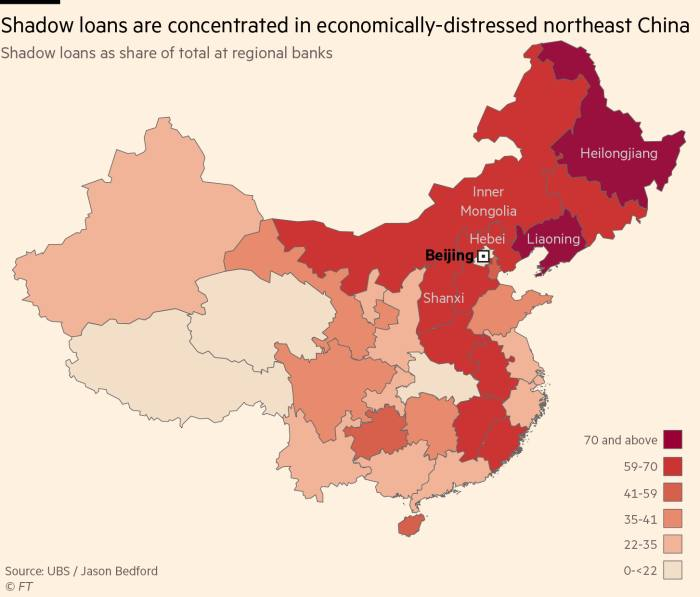Map: Shadow loans are concentrated in economically-distressed northeast China