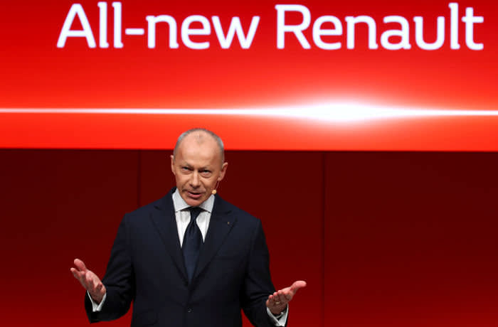 FILE PHOTO: Renault CEO Thierry Bollore attends the 89th Geneva International Motor Show in Geneva, Switzerland March 5, 2019. REUTERS/Denis Balibouse/File Photo