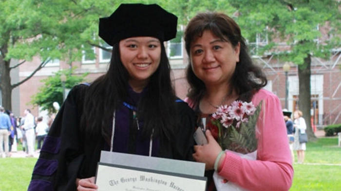 Salia Yang's mother attending her graduation from the George Washington University in 2017.