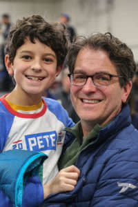 Mike Caldwell and his son Christopher in Lebanon, New Hampshire for Democratic presidential primary