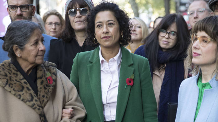 Image licensed to i-Images Picture Agency. 30/10/2019. London, United Kingdom. BBC presenter Samira Ahmed (centre) arriving with her supporters at her Employment Tribunal in London. Picture by Stephen Lock / i-Images