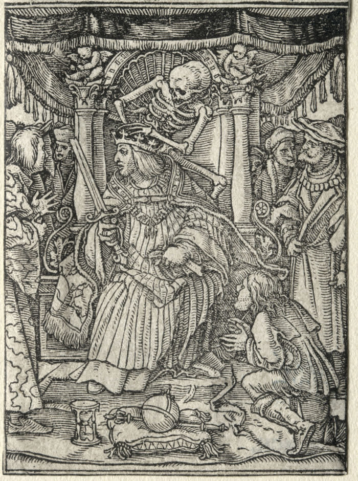 Dance of Death: The Emperor. Hans Holbein (German, 1497/98-1543). Woodcut. (Photo by: Sepia Times/ Universal Images Group via Getty Images)