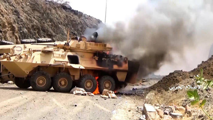 """This image grab taken from a handout video released by Ansarullah, the Huthi rebels fighting the Saudi coalition in Yemen, on September 29, 2019, allegedly shows a military vehicle on fire in an August offensive near the southern Saudi region of Najran. - Huthi rebels said they killed some 200 pro-government fighters and took 2,000 others prisoner in an August offensive near the southern Saudi region. (Photo by - / ANSARULLAH MEDIA CENTRE / AFP) / RESTRICTED TO EDITORIAL USE - MANDATORY CREDIT """"AFP PHOTO / HO / ANSARULLAH"""" - NO MARKETING NO ADVERTISING CAMPAIGNS - DISTRIBUTED AS A SERVICE TO CLIENTS FROM ALTERNATIVE SOURCES, AFP IS NOT RESPONSIBLE FOR ANY DIGITAL ALTERATIONS TO THE PICTURE'S EDITORIAL CONTENT, DATE AND LOCATION WHICH CANNOT BE INDEPENDENTLY VERIFIED / -/AFP/Getty Images"""
