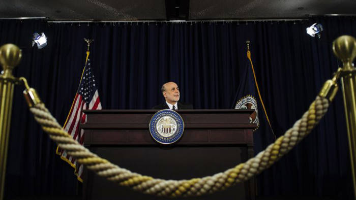 Ben Bernanke, chairman of the US Federal Reserve, speaks at a news conference following the Federal Open Market Committee meeting in Washington, DC on June 19 2013