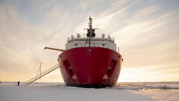 ARCTIC OCEAN – The U.S. Coast Guard Cutter Healy (WAGB-20) is in the ice Wednesday, Oct. 3, 2018, about 715 miles north of Barrow, Alaska, in the Arctic. The Healy is in the Arctic with a team of about 30 scientists and engineers aboard deploying sensors and autonomous submarines to study stratified ocean dynamics and how environmental factors affect the water below the ice surface for the Office of Naval Research. The Healy, which is homeported in Seattle, is one of two ice breakers in U.S. service and is the only military ship dedicated to conducting research in the Arctic. (NyxoLyno Cangemi/U.S. Coast Guard)