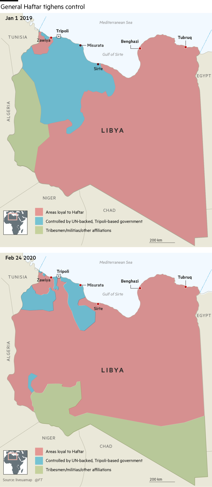 Libya map show areas of control