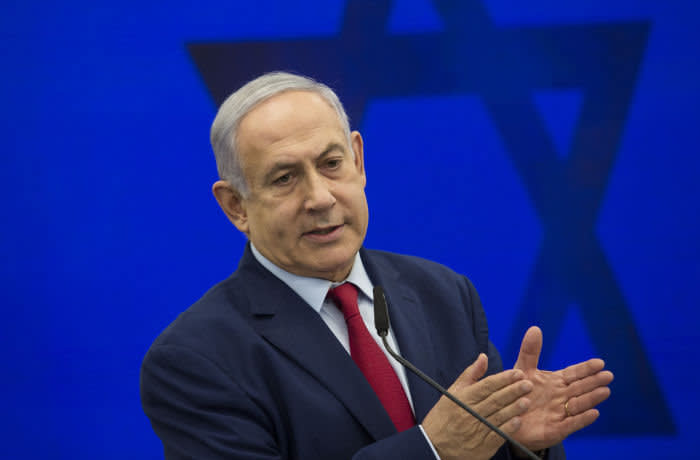RAMAT GAN, ISRAEL - SEPTEMBER 10: Israeli Prime Minster Benjamin Netanyahu gives an announcement on September 10, 2019 in Ramat Gan, Israel. Netanyahu pledges to annex Jordan Valley in Occupied West Bank if Re-Elected on SEPTEMBER 17th Israeli elections. (Photo by Amir Levy/Getty Images)