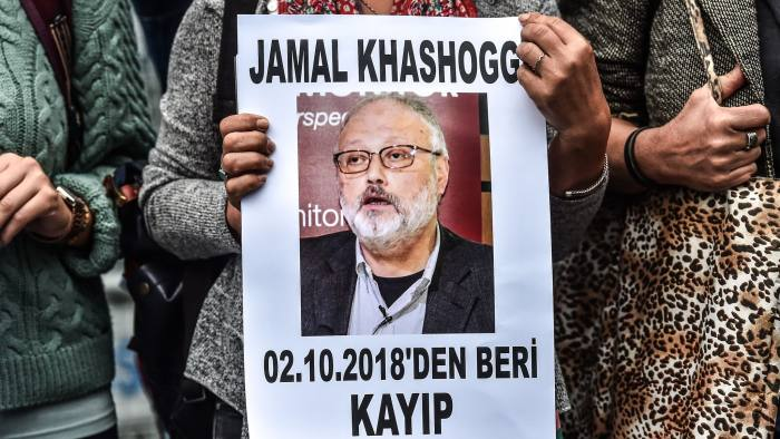 Supporters of Jamal Khashoggi during a protest outside the Saudi consulate in Istanbul last year days before authorities said he was killed. The journalist's murder prompted several executives to boycott the PIF forum