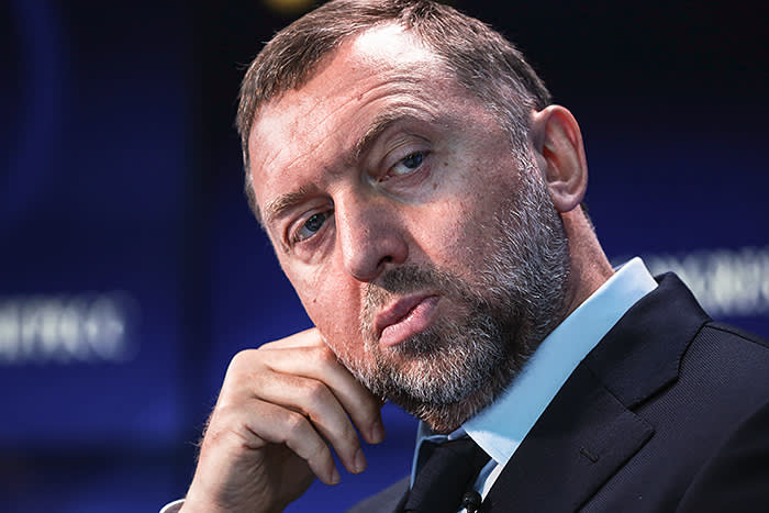FILE: Oleg Deripaska, Russian billionaire and president of United Co. Rusal, pauses on the Bloomberg Television debate panel during the St. Petersburg International Economic Forum (SPIEF) at the Expoforum in Saint Petersburg, Russia, on Thursday, June 1, 2017. United Co. Rusal -- the biggest aluminum maker outside China -- and seven other Deripaska-linked firms were the most prominent targets in a list of 12 Russian companies the U.S. hit with sanctions on Friday intended to punish the country for actions in Crimea, Ukraine and Syria, and attempting to subvert Western democracies. Our editors select the best archive images on Deripaska and Rusal. Photographer: Simon Dawson/Bloomberg