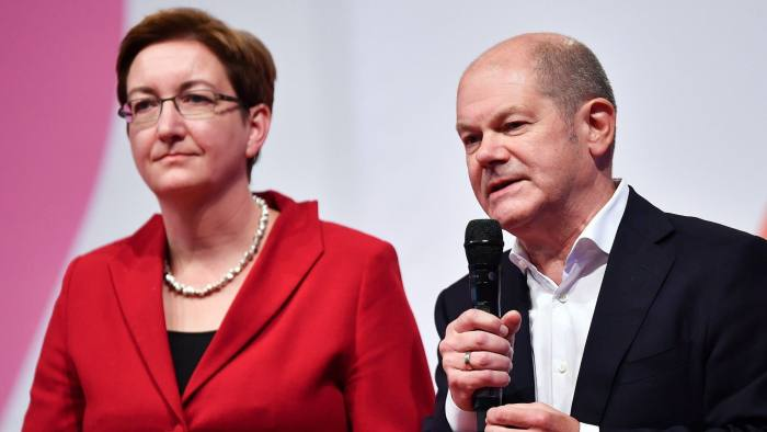 Mandatory Credit: Photo by PHILIPP GUELLAND/EPA-EFE/Shutterstock (10488681a) (FILE) - Candidates Klara Geywitz (L) and Olaf Scholz (R) speak during a German Social Democratic Party (SPD) regional conference in Munich, Germany, 12 October 2019 (reissued 30 November 2019). The SPD on 30 November 2019 announced that Saskia Esken and Norbert Walter-Borjans have won the run-off for party leadership against Klara Geywitz and Olaf Scholz. A party conference in December has to formally approve the new leadership. Geywitz and Scholz lose race for SPD party leadership, Munich, Germany - 12 Oct 2019