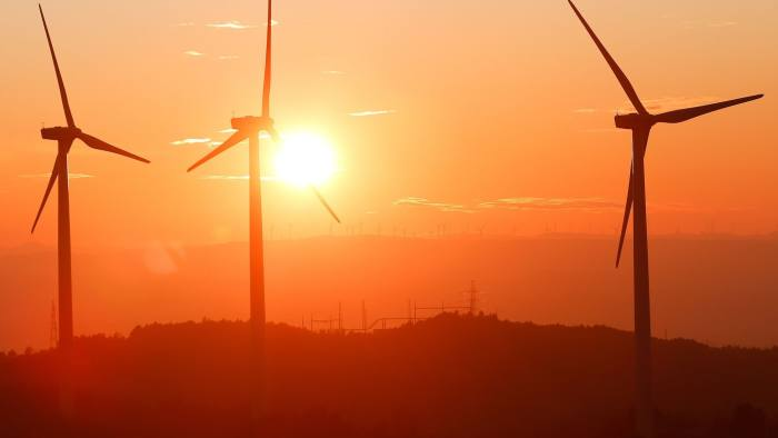 Serra de Rubio wind farm's wind turbines are pictured in Castellfollit del Boix on December 2, 2019. (Photo by PAU BARRENA / AFP) (Photo by PAU BARRENA/AFP via Getty Images)