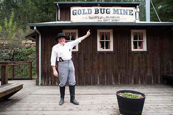 Charlie Basham outside Placerville's Gold Bug Mine museum