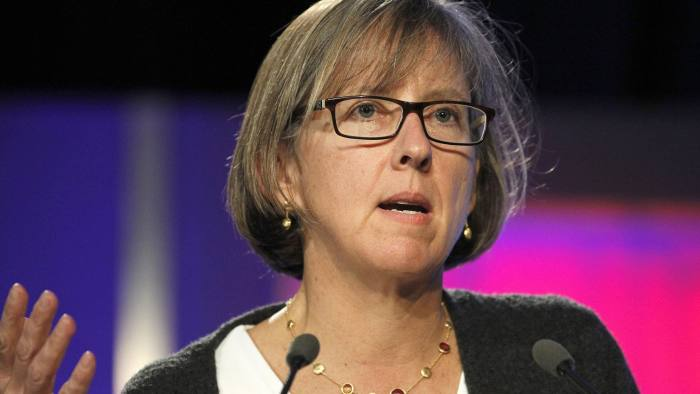 "Web 2.0 Summit...Mary Meeker, analyst with Morgan Stanley, speaks during the Web 2.0 Summit in San Francisco, California, U.S., on Tuesday, Nov. 16, 2010. This year's conference, which runs through Nov. 17, is titled ""Points of Control: The Battle for the Network Economy."" Photographer: Tony Avelar/Bloomberg"