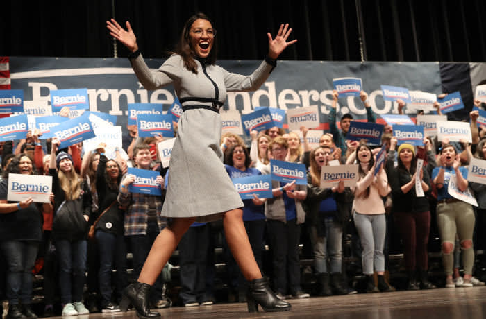AMES, IOWA - JANUARY 25: Rep. Alexandria Ocasio-Cortez (D-NY) arrives on stage at a campaign event for Democratic presidential candidate Sen. Bernie Sanders (I-VT) at the Ames City Auditorium on January 25, 2020 in Ames, Iowa. Iowa holds the state's caucuses in nine days on February 3. (Photo by Win McNamee/Getty Images)