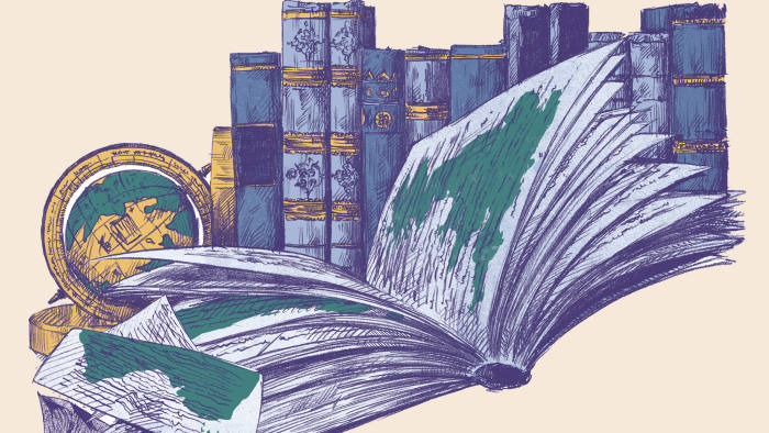 An illustration by Toby Whitebread depicting a library of world literature