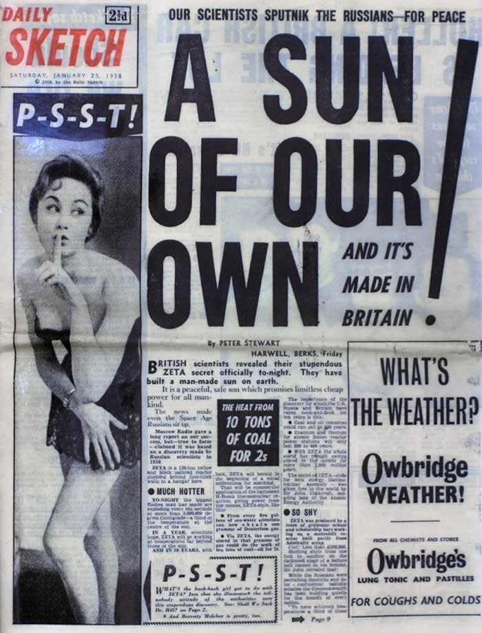 Daily Sketch newspaper front page - Zeta 25th January 1958 proclaiming the UK fusion triumph that wasn't