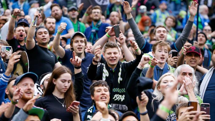 Nov 10, 2019; Seattle, WA, USA; Seattle Sounders FC fans celebrate after beating Toronto FC during the MLS Cup at CenturyLink Field. Mandatory Credit: Jennifer Buchanan-USA TODAY Sports - 13667256