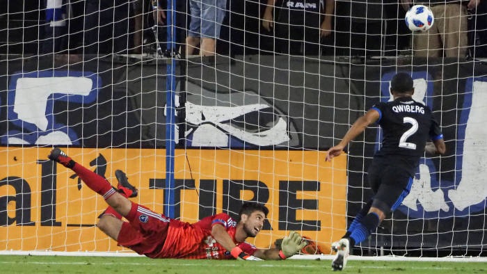 Aug 25, 2018; San Jose, CA, USA; San Jose Earthquakes goalkeeper Andrew Tarbell (28) dives but is unable to make a save as the Vancouver Whitecaps score a goal during the second half at Avaya Stadium. Mandatory Credit: Kelley L Cox-USA TODAY Sports TPX IMAGES OF THE DAY - RC1729DE9730
