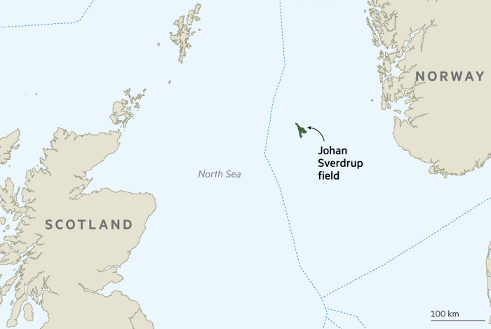 Map showing Johan Sverdrup field in the North Sea