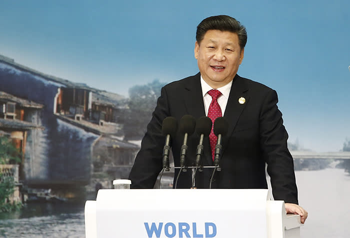 Chinese President Xi Jinping at the World Internet Conference in 2015, where he told attendees that every nation should have independent authority over its own internet