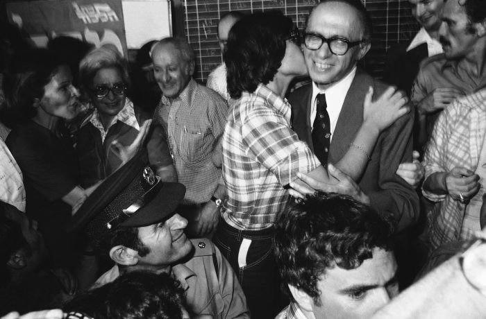 Leah Begin Kisses her father Menahem Begin, leader of the Right-Wing Likud Party that won a landslide victory, May 18, 1977 at Israeli General Elections in Tel Aviv. (AP Photo/Max Nash)