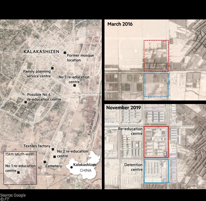 Satellite map showing Karakax's internment facilities