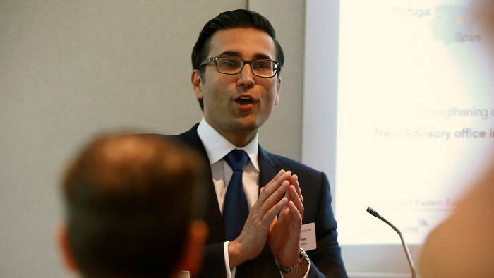 Iqbal Khan, CEO International Wealth Management of Swiss bank Credit Suisse, speaks during