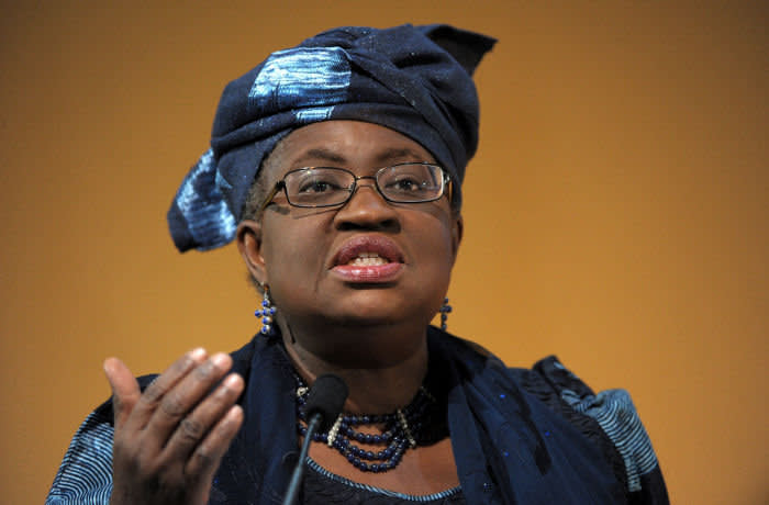 FRANCE-AFRICA-FORUM...Nigeria's Finance Minister Ngozi Okonjo-Iweala delivers a speech during the Franco-African forum at the Economy Ministry in Paris on February 6, 2015. The Franco-African forum started today in Paris in a bid to bolster economic ties between France and Africa. AFP PHOTO / ERIC PIERMONT (Photo credit should read ERIC PIERMONT/AFP/Getty Images)