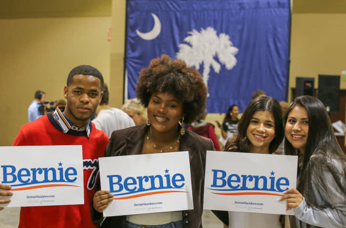 Ms McIntyre, (18-year old black high-school student, second from left) at a Bernie Sanders rally in Charleston